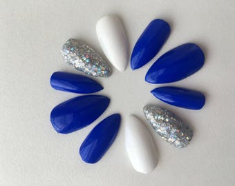 Blue, White, and Glam Fake Nails/ Press on Nails