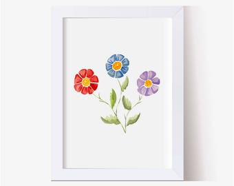 Watercolor Painting, Watercolor Daisy Picture, Flower Art Print, Watercolor Daisy, Blue Red Purple Daisy Watercolor, Floral Painting