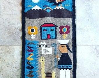 Vintage South America Wool Tapestry // Tapiz Sudamerica // Boho Decor