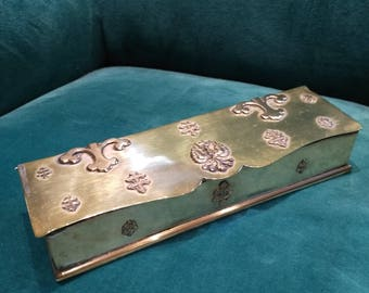 Stamp box / jewelry box / pencil box decorated with cross and Eagle vintage brass. French. Trinket Box