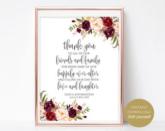 Personalized Wedding Thank You Sign To Our Family and Friends Wedding Reception Wedding Template Instant Download 4x6, 5x7, 8x10 Boho Chic