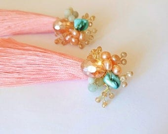 Peach tassel earrings with pearls, amazonite and crystals