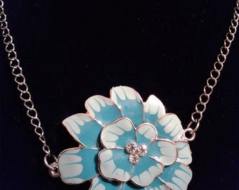Blue flower Necklace With Rhinestones #60