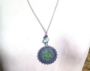 enameled metal filigree rose pendant