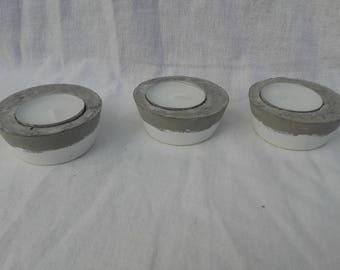 Round white concrete candle holder