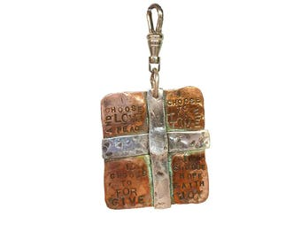Large Copper and Sterling Cross Charm