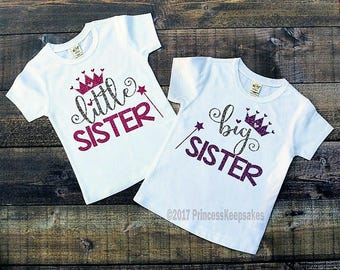 Big Sister little Sister Outfits, little sister big sister,little sister big sister shirts, Baby Shower Gift, Free name personalization