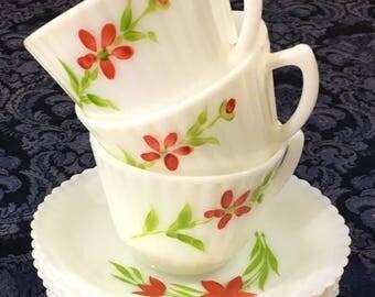 Vintage MacBeth Evans Petalware Monax 3 Coffee Cups & 6 Saucers Florette Pattern