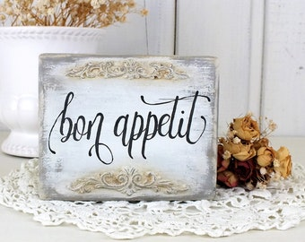 Bon appetit reclaimed wood sign French kitchen white Vintage style decor Calligraphy on wood Small shelf sitter signs Gift for housewarming