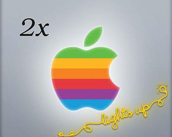 Rainbow Apple MacBook Decal Retro Apple Logo MacBook Sticker GLOWING Apple Decal MacBook Pro Old Apple Sticker MacBook Air (2PACK) LG001x2