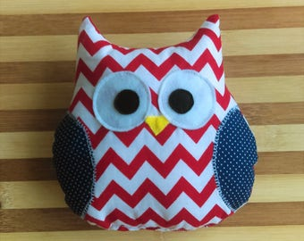 Owl Toy with Squeaker - Red Chevron & Blue Polka Dots