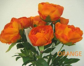 "Peony Bush 7 Artificial Silk Flowers 20"" Bouquet 773"