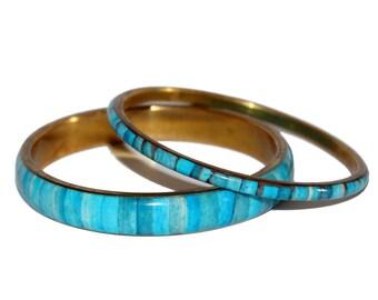 x2 Ocean Tones Inlaid Bangle. Blue Bracelet. Bracelet. Bangle. Blue Bangle. Bangle Set. Vintage Bangles. Festival. Mermaid. Ocean. Summer