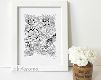 Butterfly Patch - Hand Drawn Black and White Floral Art Print (without frame)