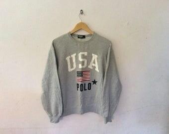 90's Vintage POLO Ralph Lauren USA American Flag Spellout Sweatshirt