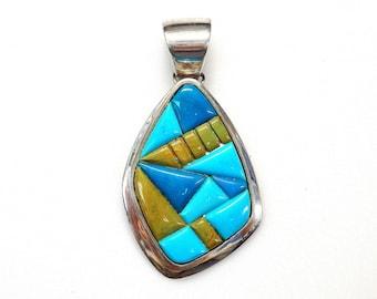 Sterling Silver Multicolor Turquoise Unique Design Pendant