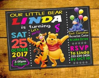 Winnie The Pooh Invitation,  Winnie The Pooh Birthday Invitation Winnie The Pooh  5x7 Or 4x6 Party Invitation, Digital Item