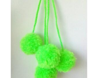 Pompom tassel bag charm, beach bag pompom, wool pompom, nappy bag charm, boho