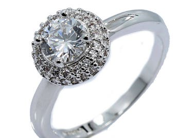 18K White Gold Plate Stainless Steel Round Halo Cubic Zirconia Wedding Band Ring