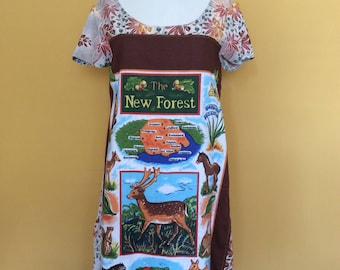Handmade upcyled unique new forest ladies dress