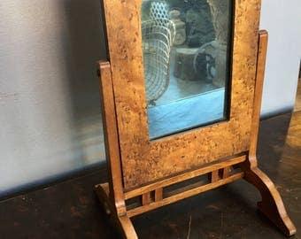 Small, 19th Century, Antique Adjustable Wooden Pivot Mirror (Bird's Eye Maple)