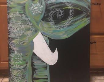 Turquoise bohemian elephant