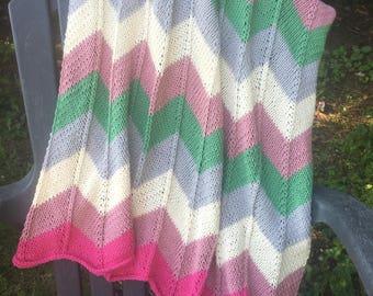 CUSTOM knit chevron stripe baby blanket