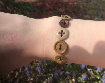 Brown Stretchy Button Bracelet