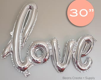 LOVE balloon in Silver | Engagement, Bridal Shower, Wedding