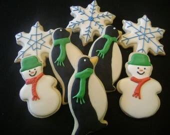 Winter Wonderland Asoorted Cookies   Custom Decorated Christmas cookies   Holiday Sugar Cookie