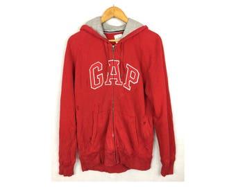GAP Long Sleeve Hoodies Medium Size Fully Zipper Big Spell Out Logo
