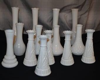 Vintage Lot , 14 Milk Glass Bud Vases