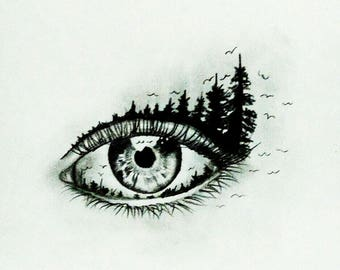 Eye , Black and White , Pencil Drawing , Sketch , Illustration , Forest