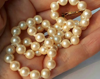 9k carat gold clasp vintage faux cultured Pearl necklace choker beads string of pearls