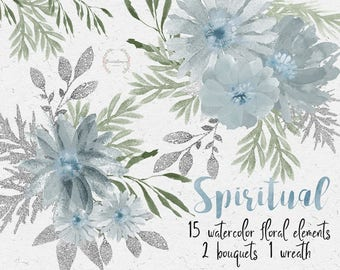 Dusty blue clipart, floral clipart, watercolor clipart, watercolor flowers, individual png files, hand painted, wedding clipart, diy invites