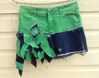 distressed denim jean skirt, upcycled one of a kind skirt, jean skirt, denim skirt, green mini skirt, one of a kind skirt, OOAK skirt
