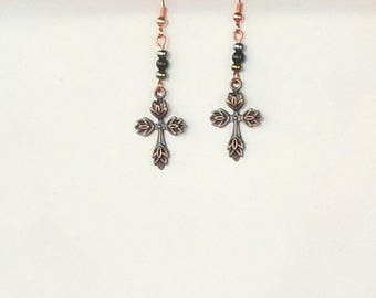 Earrings Celtic Cross Obsidian Gemstone