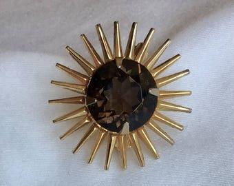 Vintage gold and smoky quartz glass brooch