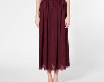 Maroon maxi skirt | Etsy
