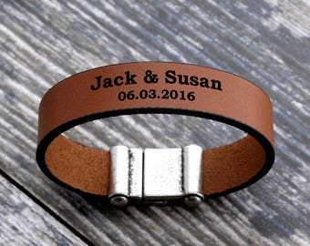 Personalized leather bracelet, engraved bracelets, personalized date bracelet, personalized name bracelet, custom mens bracelet, mens gift