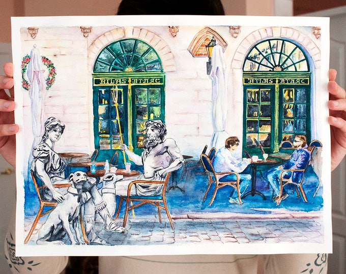 Greek Gods in the Street Cafe, ORIGINAL Painting inspired by Greek Mythology and Old Town Streets, Watercolor Artwork