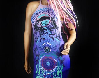 DRAGON DRESS Womens Dresses Psytrance Clothing Rave Outfit Festival Dress Festival Clothing Psychedelic Dress Hippie Clothing Party Dress