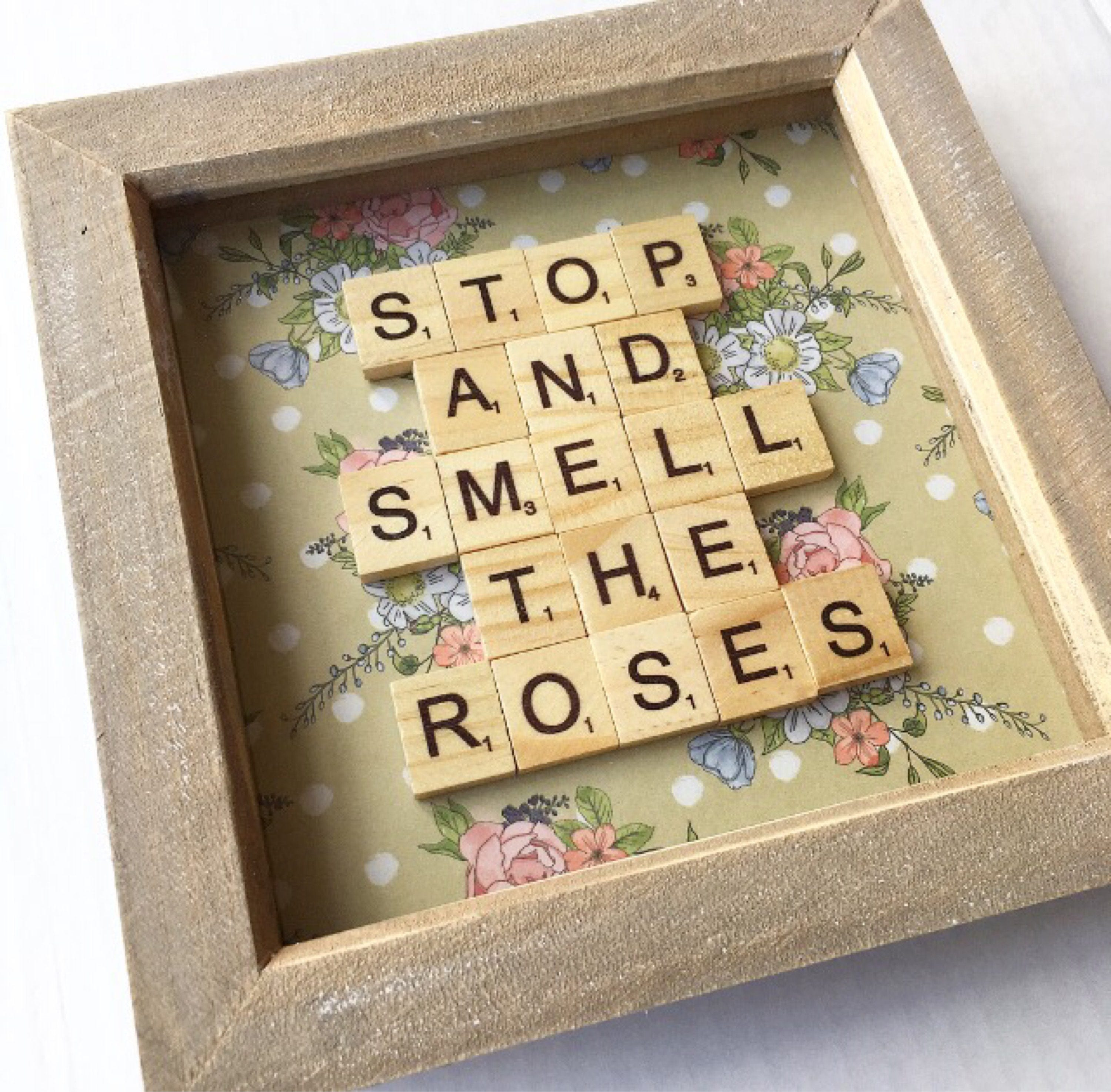 Stop And Smell The Roses Scrabble Frame - Scrabble Art - Box Frame ...