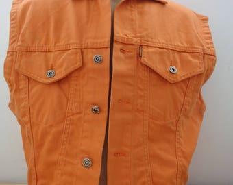 DENIM orange Vest, ACAPELLI original Jeans, Orange Acapelli vest size M,  JEANS Acapelli  Vintage, Vintage original Denim