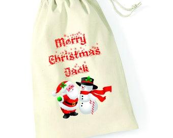 Personalised Santa Snowman Hug Merry Christmas Santa Sack Xmas Present Stocking Drawstring Custom Printed Keepsake Tumblr Pintrest