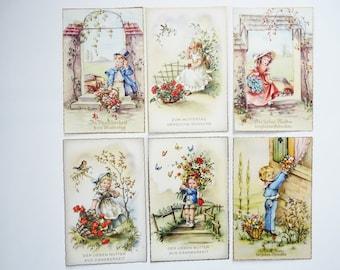 Postcards greeting card mothers day boys & girls 1940s Germany Ephemera VINTAGE 6 pcs