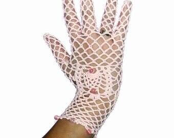 Crochet Vintage Short Ivory Bridal Fingerless Gloves/  Beige Lace Glove/ Champagne Lace Wedding Gloves
