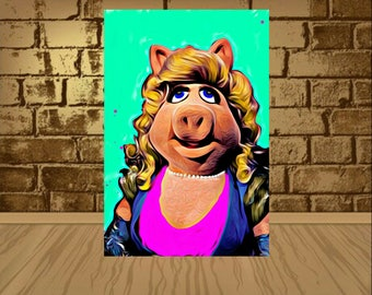 miss piggy poster,miss piggy print,miss piggy art,movie poster,movie art,movie print,kermit poster,kermit art,kermit print,painting print
