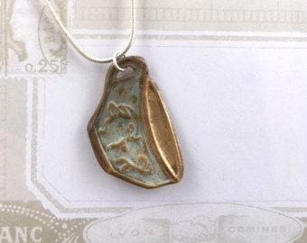 Bronze teacup pendant, cup of tea, handmade vintage style pendant