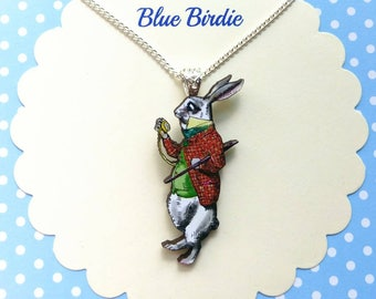 White rabbit necklace Alice in wonderland jewelry Alice jewelry Alice necklace white rabbit jewellery Alice in wonderland gifts